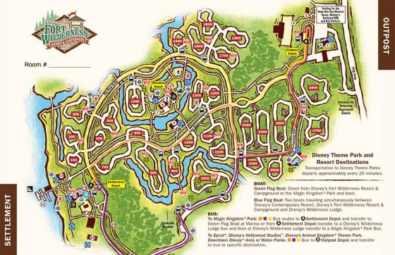 A imagem mostra o mapa do Disney's Fort Wilderness