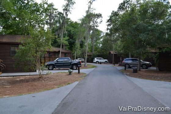 Nossa rua no Fort Wilderness. Casinhas e floresta