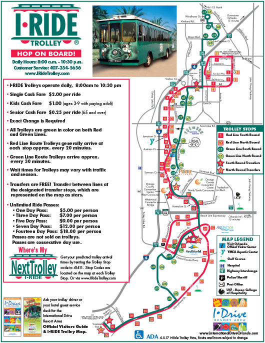 Mapa da rota do I-Trolley pela International Drive