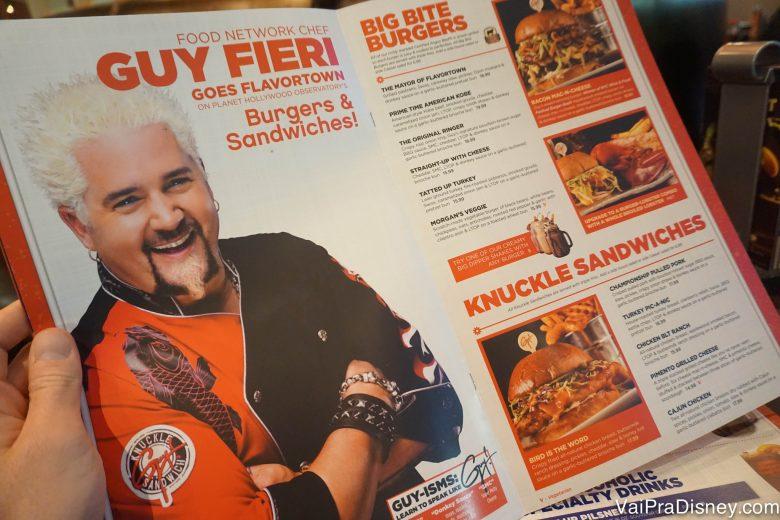 Parte do cardápio do Planet Hollywood com pratos assinados pelo chef Guy Fieri