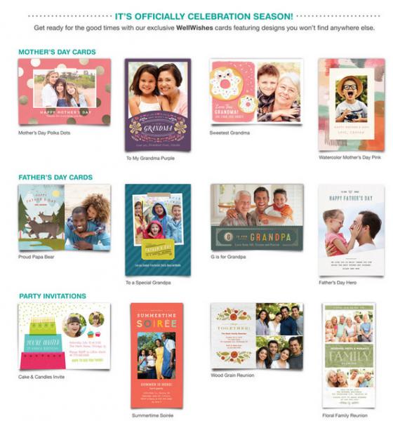 Algumas das opções disponíveis no catálago do Walgreens. Da até para fazer cartões e convites personalizados.