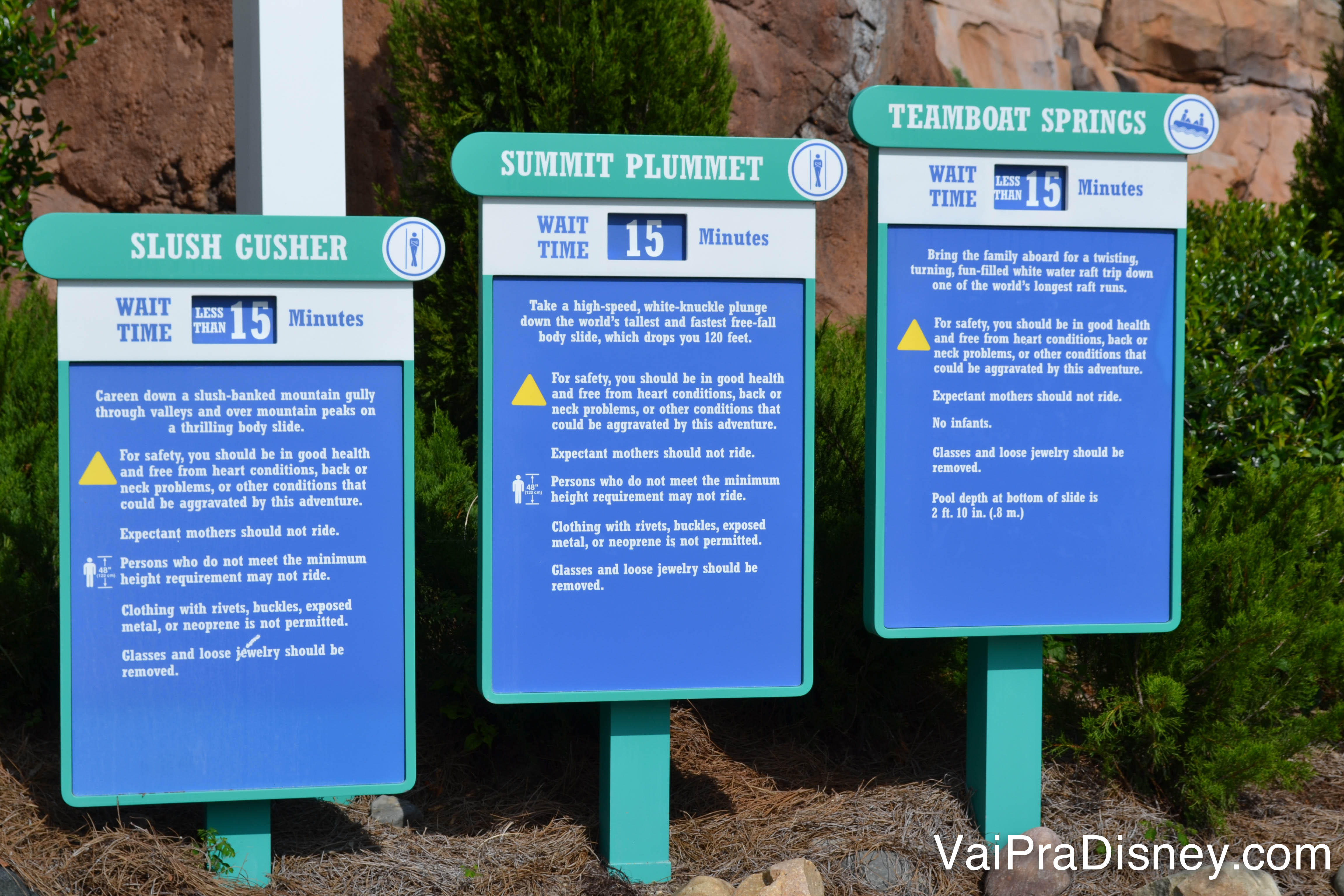 As informações e tempo de espera de cada atração do Green Slope
