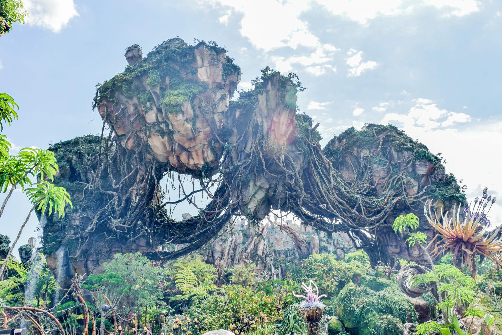 Foto da decoração de Pandora, no Animal Kingdom, que consiste em rochas com vegetação ao redor e o céu azul ao fundo.