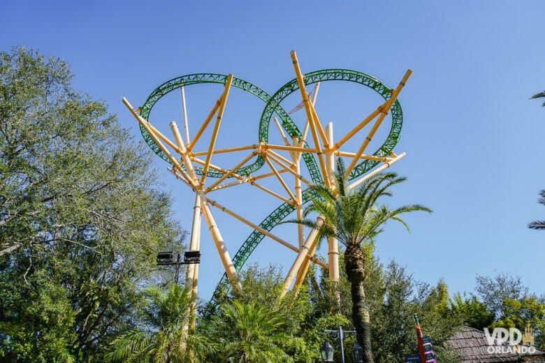 Cheetah Hunt, uma das montanhas russas mais novas do Busch Gardens em Tampa. Foto dos trilhos fazendo diversas curvas na montanha-russa Cheetah Hunt