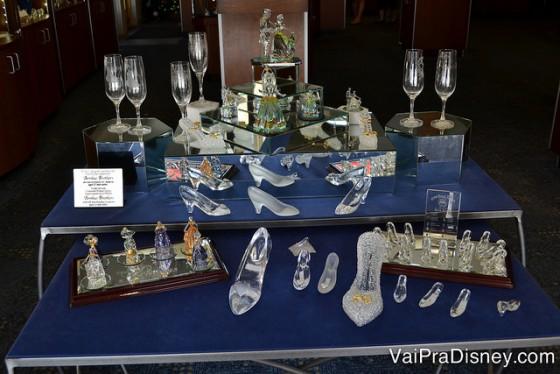 alguns dos itens de cristal do Arribas Bros