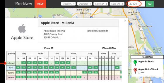 Estoque dos iPhones nas lojas da Apple nos EUA. Clique na imagem para ampliar.