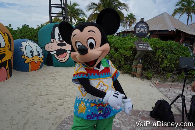 Foto do Mickey de roupa de praia em Castaway Cay!