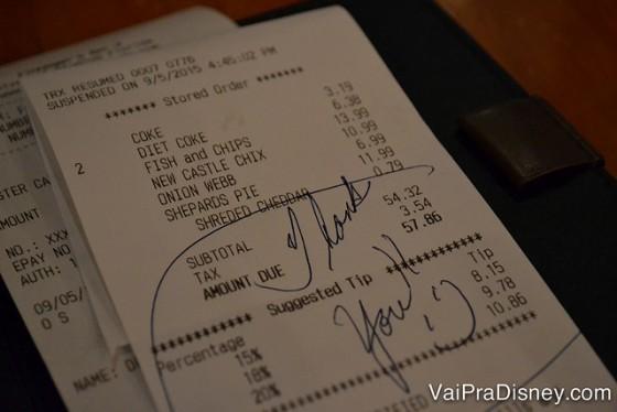 A conta no Finnegan's, que deu 57,86 dólares