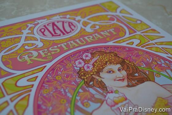 Foto da capa do cardápio do The Plaza Restaurant, no estilo Art Nouveau