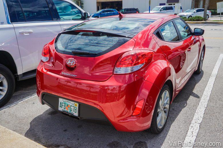 """Veloster que alugamos na Alamo. Ele estava anunciado como """"Ford Focus"""" ou similar da categoria Compacto. Nos demos bem!"""