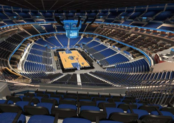Visão do setor Promenade B do Amway Center - NBA Orlando Magic