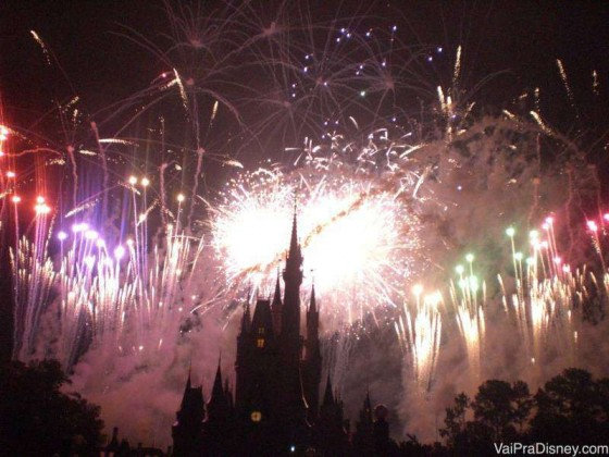 O momento mais feliz de um dia no Magic Kingdom: o último estouro do Wishes