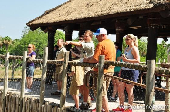 Foto dos guias durante o Wild Africa Trek, apontando algo para os visitantes