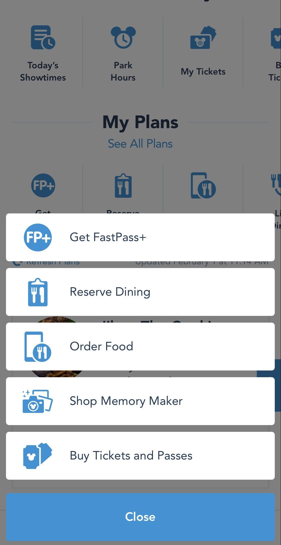 My Disney Experience - Apps essenciais. Foto da tela no app My Disney Experience, mostrando as opções disponíveis para planejar as visitas aos parques