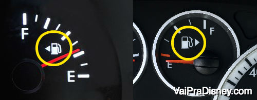 Você já tinha reparado nessa seta no painel do seu carro? Ela indica o lado por onde se abastece o combustível. Foto do painel de um carro com um ícone indicando o lado em que se deve inserir o combustível