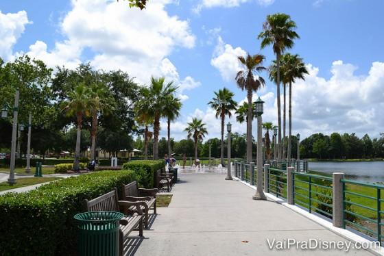 100 dicas em 100 dias: uma rua de Celebration, rodeada de palmeiras, com o céu azul ao fundo