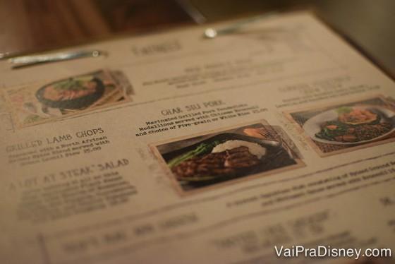 Foto do cardápio de pratos do Skipper Canteen