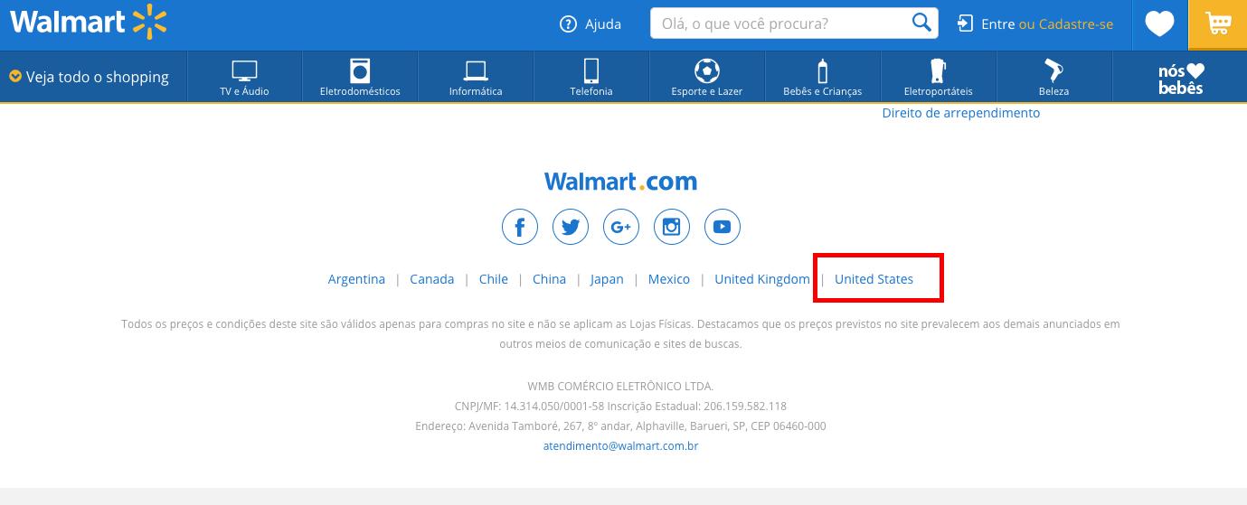 """Foto da tela inicial do site do Walmart mostrando onde selecionar """"Estados Unidos"""" como país de referência"""
