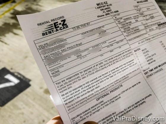 Imagem do contrato da E-Z Rent-A-Car recebido logo após a apresentação do voucher