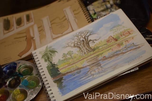 Mais detalhes da decoração do Tiffins, im caderno com aquarelas e tintas ao lado