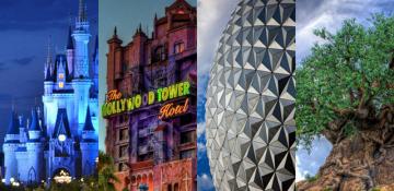 Imagem que mostra parte das atrações ícones de cada parque da Disney: o castelo da Cinderela no Magic Kingdom, a Tower of Terror do Hollywood Studios, a bola do Epcot e a árvore da vida do Animal Kingdom.