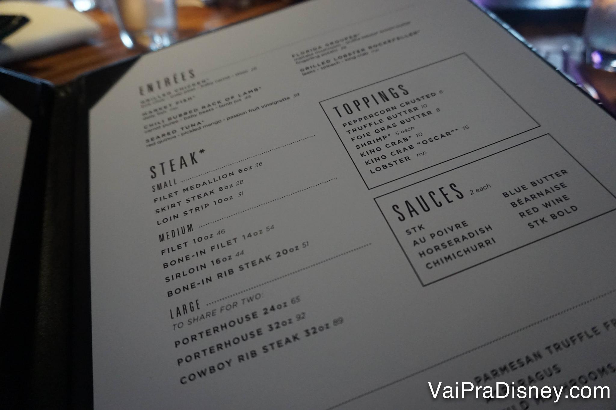 Foto do menu dos pratos principais do STK