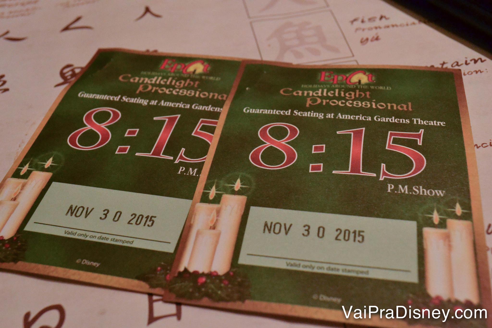 Nosso voucher do Candlelight Dining Package do ano passado.