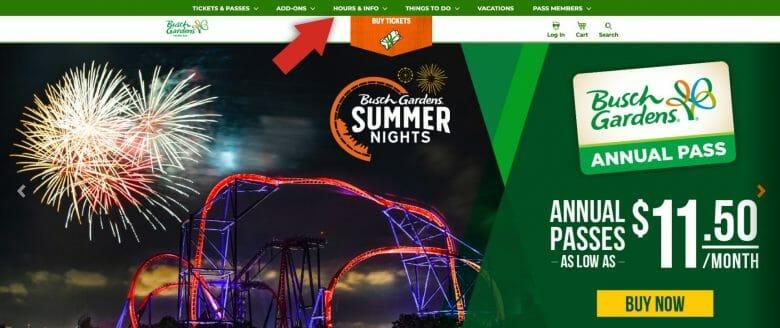 Como ver o horário de funcionamento do Busch Gardens. Foto do site do Busch Gardens