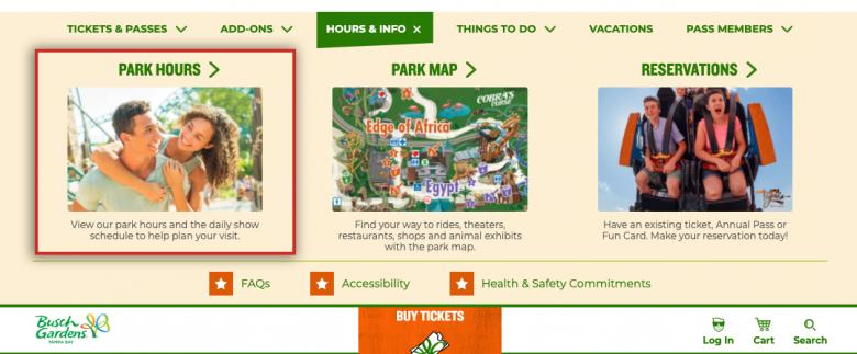 Como ver o horário de funcionamento do Busch Gardens. Foto do site do Busch Gardens.