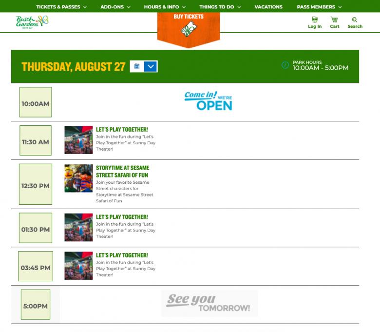 Foto da programação no site do Busch Gardens.