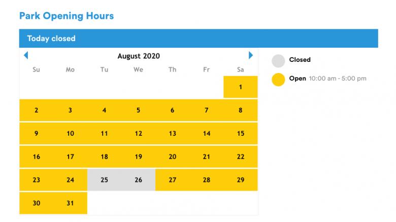 Como ver os horários dos parques. Foto do calendário no site da Legoland