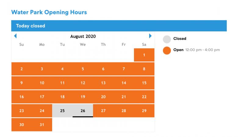 Como ver os horários dos parques. Foto do calendário do parque aquático no site da Legoland
