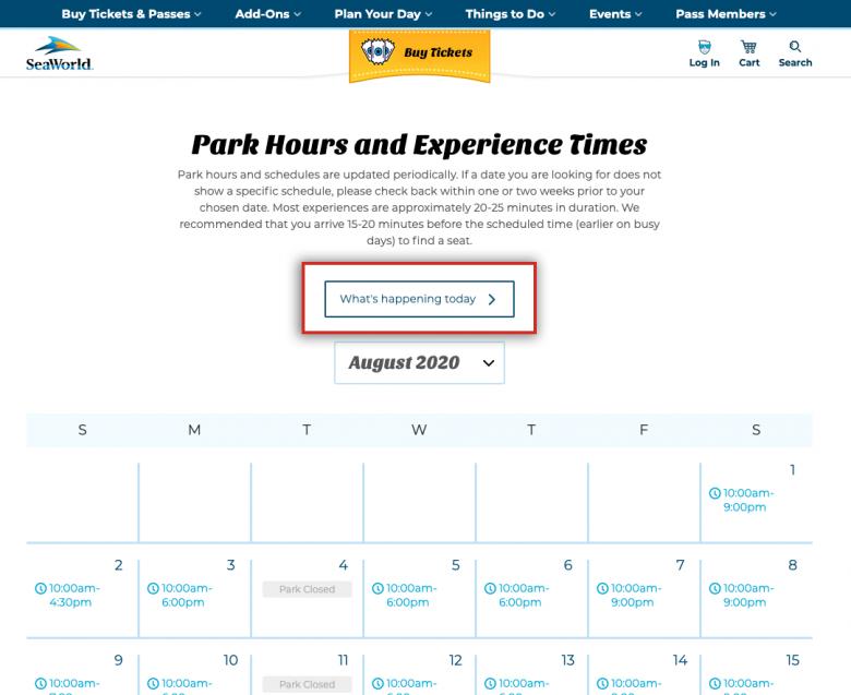 Como ver o horário de funcionamento do SeaWorld. Foto do calendário do site do SeaWorld.