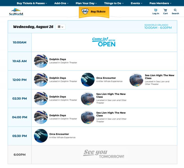 Foto da programação no site do SeaWorld.