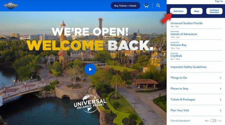 Como ver o horário de funcionamento da Universal. Foto do site da Universal