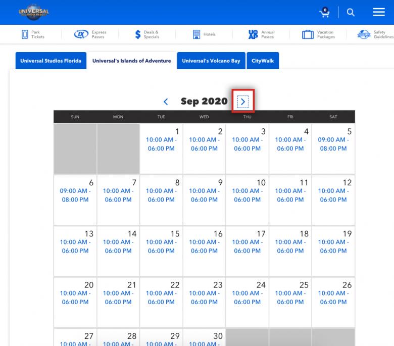 Como ver o horário de funcionamento da Universal. Foto do calendário no site da Universal