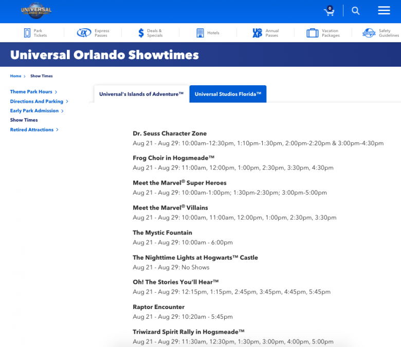 Como ver o horário de shows da Universal. Foto dos horários dos shows no site da Universal