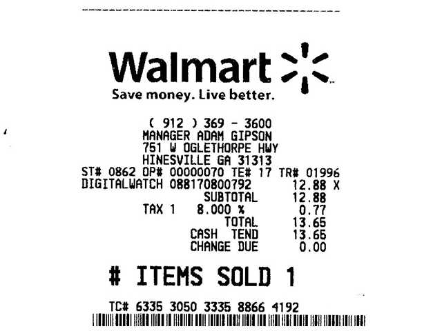 Recibo do Walmart, de compra feita no estado da Georgia. A Sales Tax vem separada no final.
