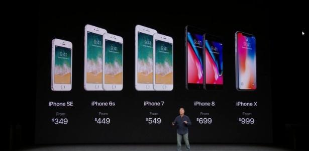 Família do iPhone em 2017, incluindo os lançamentos iPhone 8 e iPhone X