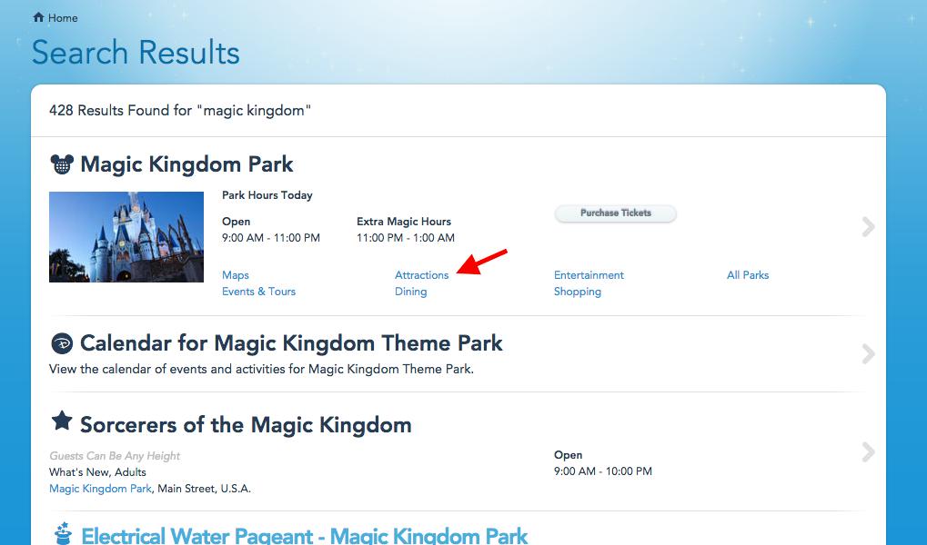 No exemplo eu pesquisei por Magic Kingdom no campo de busca. Depois, o próximo passo é clicar nesse botão de Attractions.