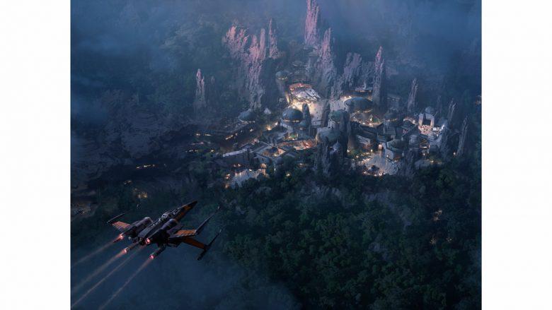Foto divulgada pela Disney do conceito de como será a Star Wars Galaxy's Edge no Hollywood Studios, com uma nave sobrevoando o local