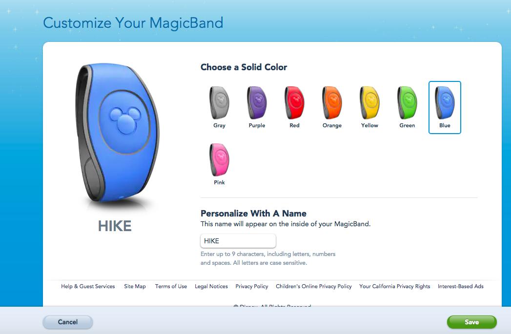 Como personalizar a sua MagicBand. Foto do My Disney Experience na seção de personalizar MagicBands, mostrando diversas cores e o local para colocar o nome