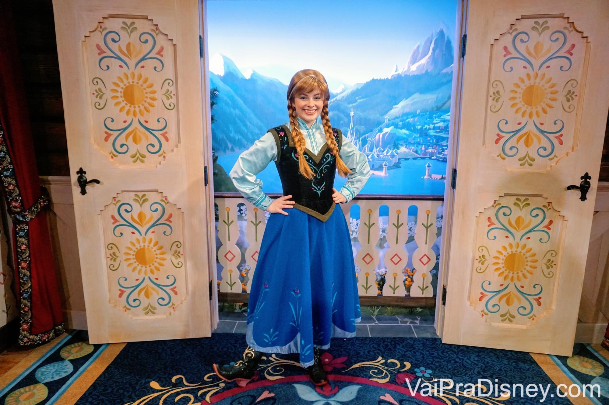 Onde encontrar personagens - Anna, uma das princesas do filme Frozen.