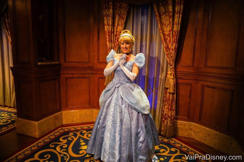 Imagem da Cinderela no encontro com a personagem na Disney