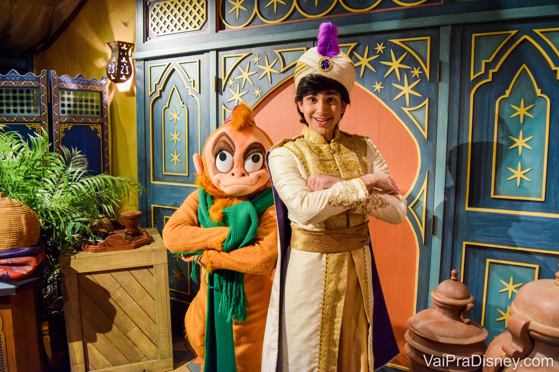 Onde encontrar personagens - Abu e Aladdin na festa de Natal do Magic Kingdom