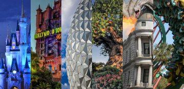 Imagem que mostra parte das atrações ícones de cada parque da Disney: o castelo da Cinderela no Magic Kingdom, a Tower of Terror do Hollywood Studios, a bola do Epcot e a árvore da vida do Animal Kingdom. Também há ícones dos parques da Universal, o dragão de Gringotts e a montanha-russa do incrível Hulk.