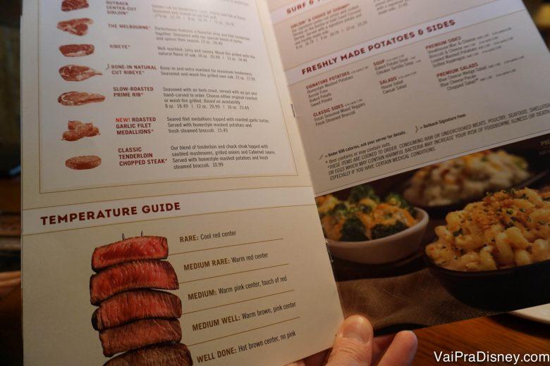 O cardápio americano traz ainda mais opções de carnes, nem tudo é igual no Brasil.