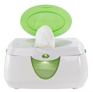 Enxoval de bebê nos EUA - Foto de um aquecedor de lencinho de fralda/bumbum na cor branca com tampa verde