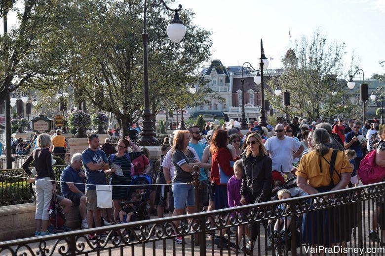 Perto da hora do parque abrir, fica cheio de gente perto das cordinhas. Eu tava tranquilão do outro lado.