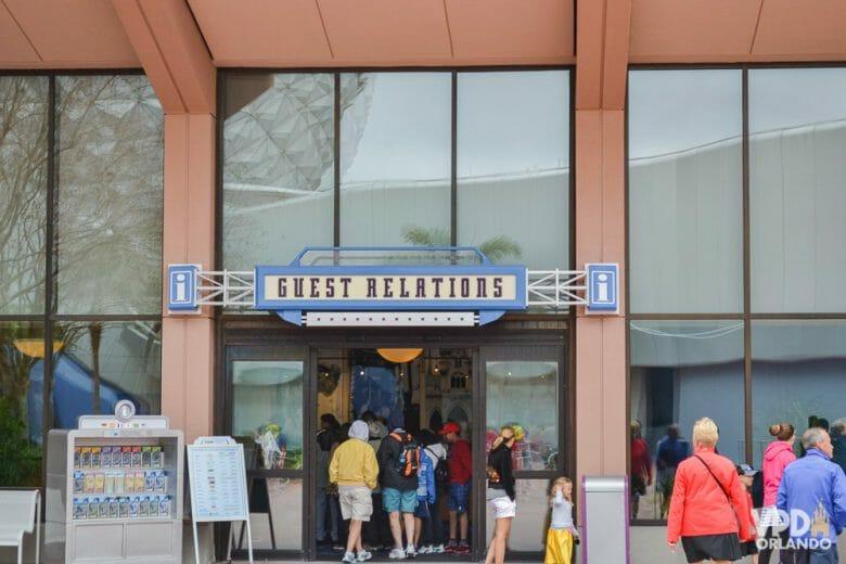Entrada do Guest Relations, onde você pode encontrar funcionários da Disney que falam português e inglês!